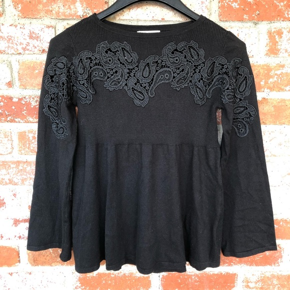 Style & Co black embellished knit baby doll top
